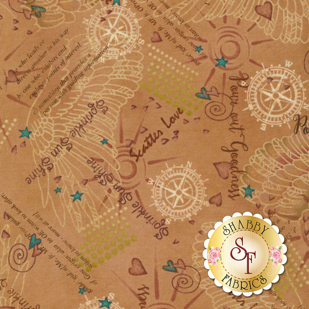 Inspirational sayings, hearts, angel wings and other scattered designs on a tan background