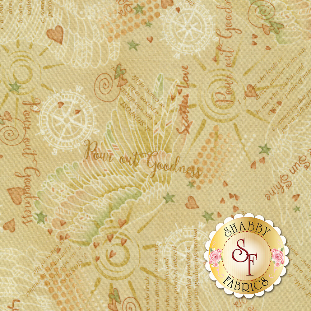 Inspirational sayings, hearts, angel wings and other scattered designs on a cream background