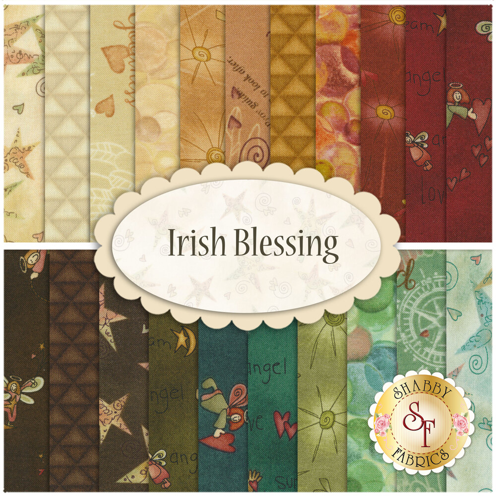 A collage of fabrics included in the Irish Blessing 21 FQ Set