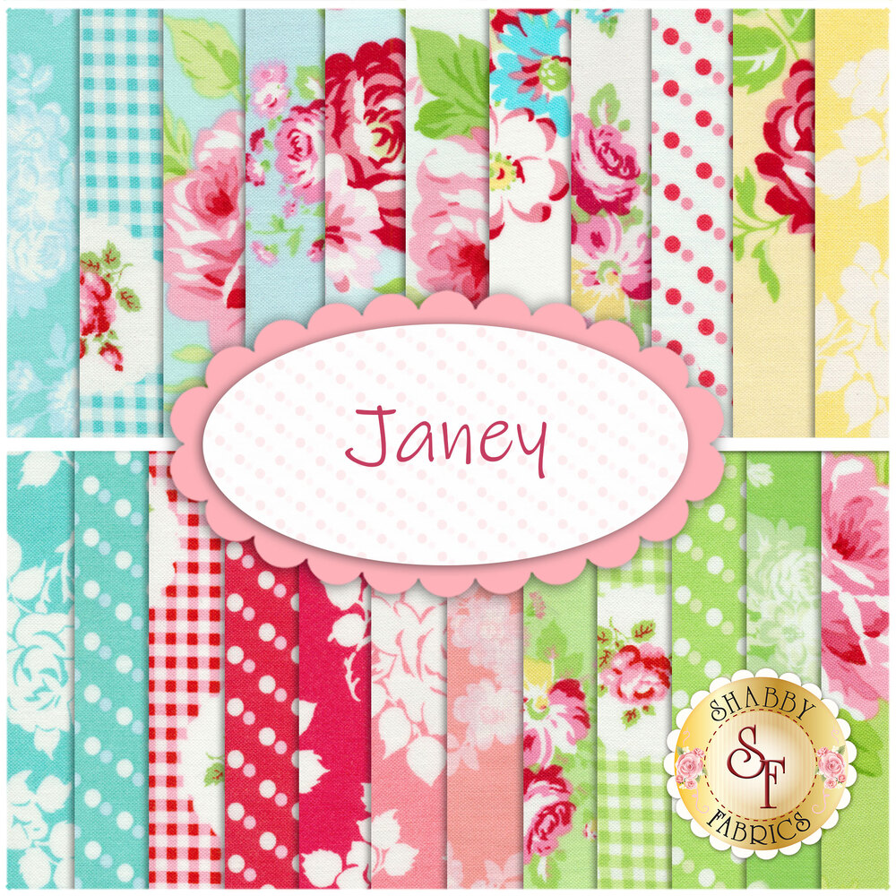 A collage of the fabrics included in the Janey 23 FQ Set | Shabby Fabrics