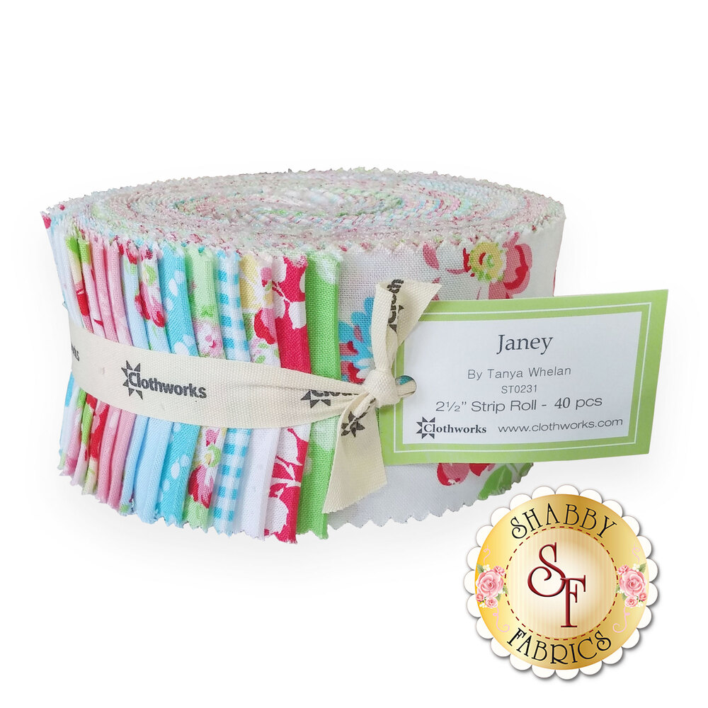 "The bundle of fabrics included in the Janey 2.5"" Strip Roll 