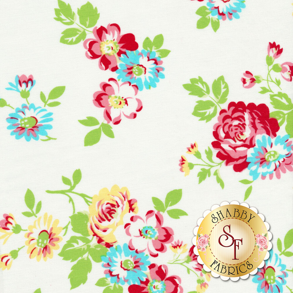 Colorful red and blue flower bundles on a white background | Shabby Fabrics