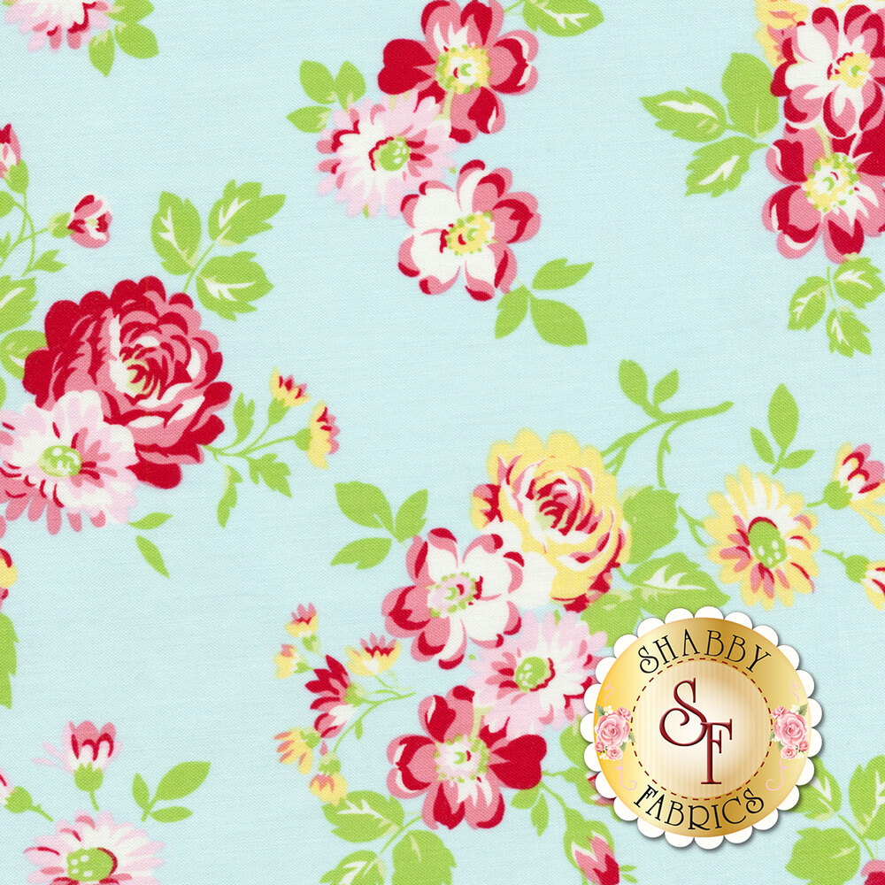 Tossed red and yellow flower bundles on a light blue background | Shabby Fabrics