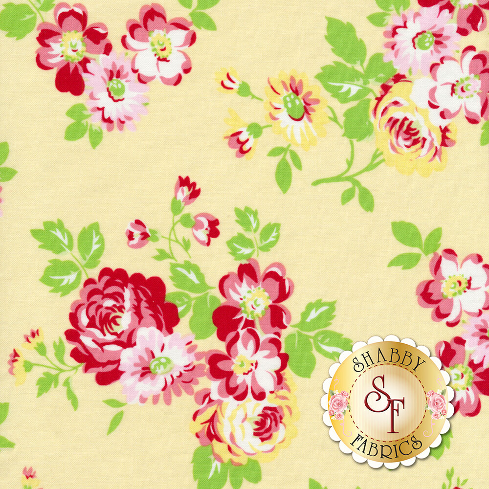 Tossed roses and red flowers on a yellow background | Shabby Fabrics