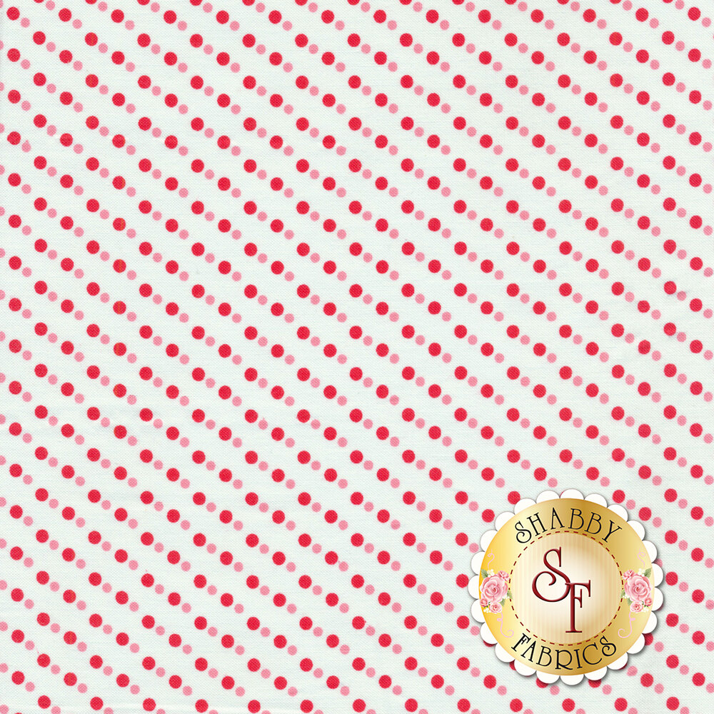 Red polka dots with smaller pink polka dots on a white background | Shabby Fabrics