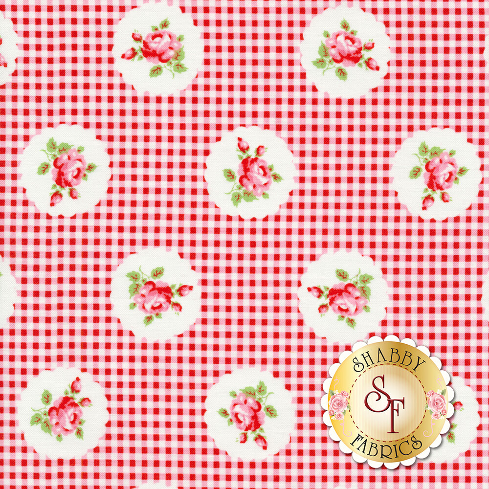 Tossed roses surrounded by white scallops on a red and white gingham background | Shabby Fabrics