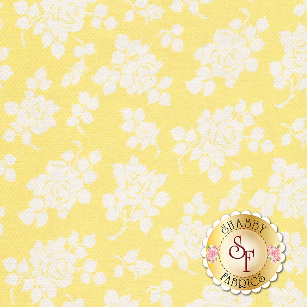White tossed rose silhouettes on a yellow background | Shabby Fabrics