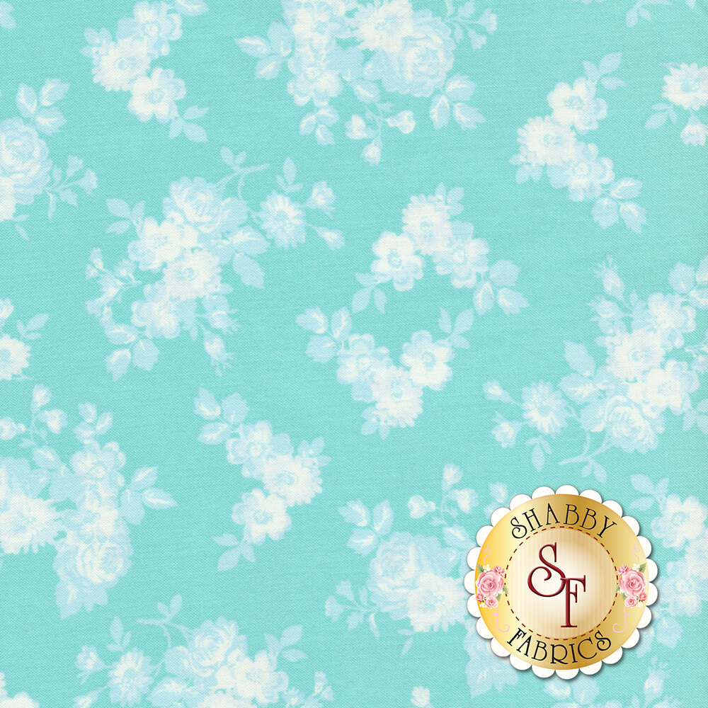 White tossed rose silhouettes on an aqua background | Shabby Fabrics