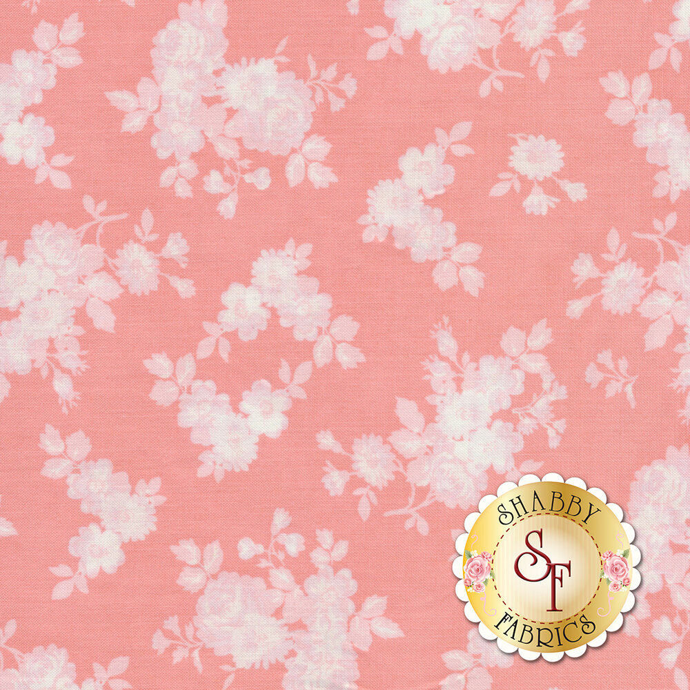 White tossed rose silhouettes on a pink background | Shabby Fabrics