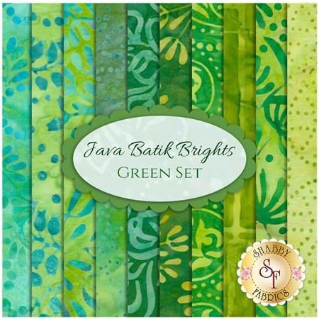 Java Batik Brights  10 FQ Set - Green Set from Maywood Studio Fabrics