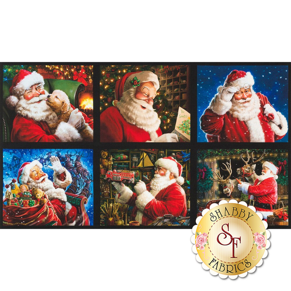 A digital print panel with 6 scenes containing Santa Claus | Shabby Fabrics