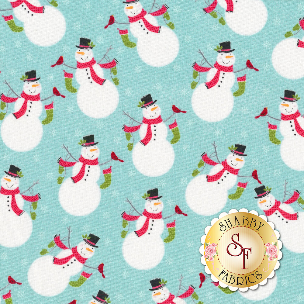 Darling snowmen with red cardinals on a turquoise background | Shabby Fabrics