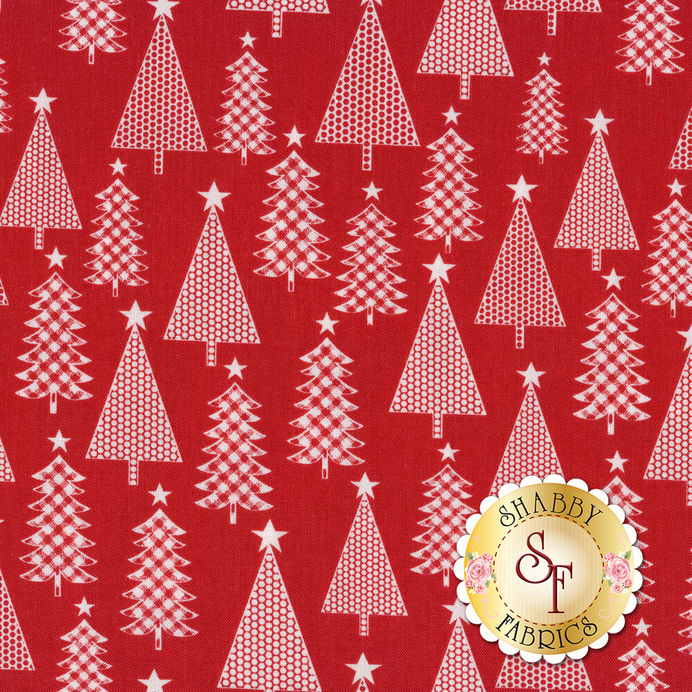 White Christmas trees with different textures on a red background | Shabby Fabrics