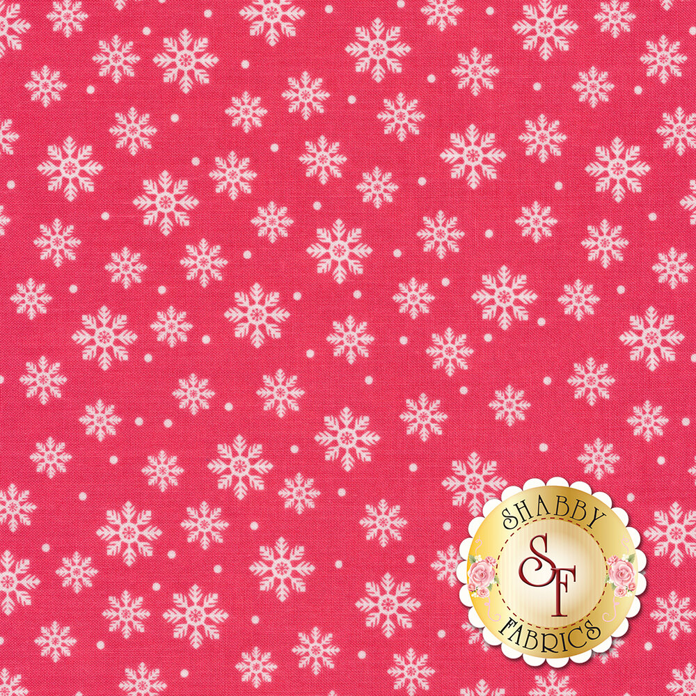 White snowflakes on a pink background | Shabby Fabrics