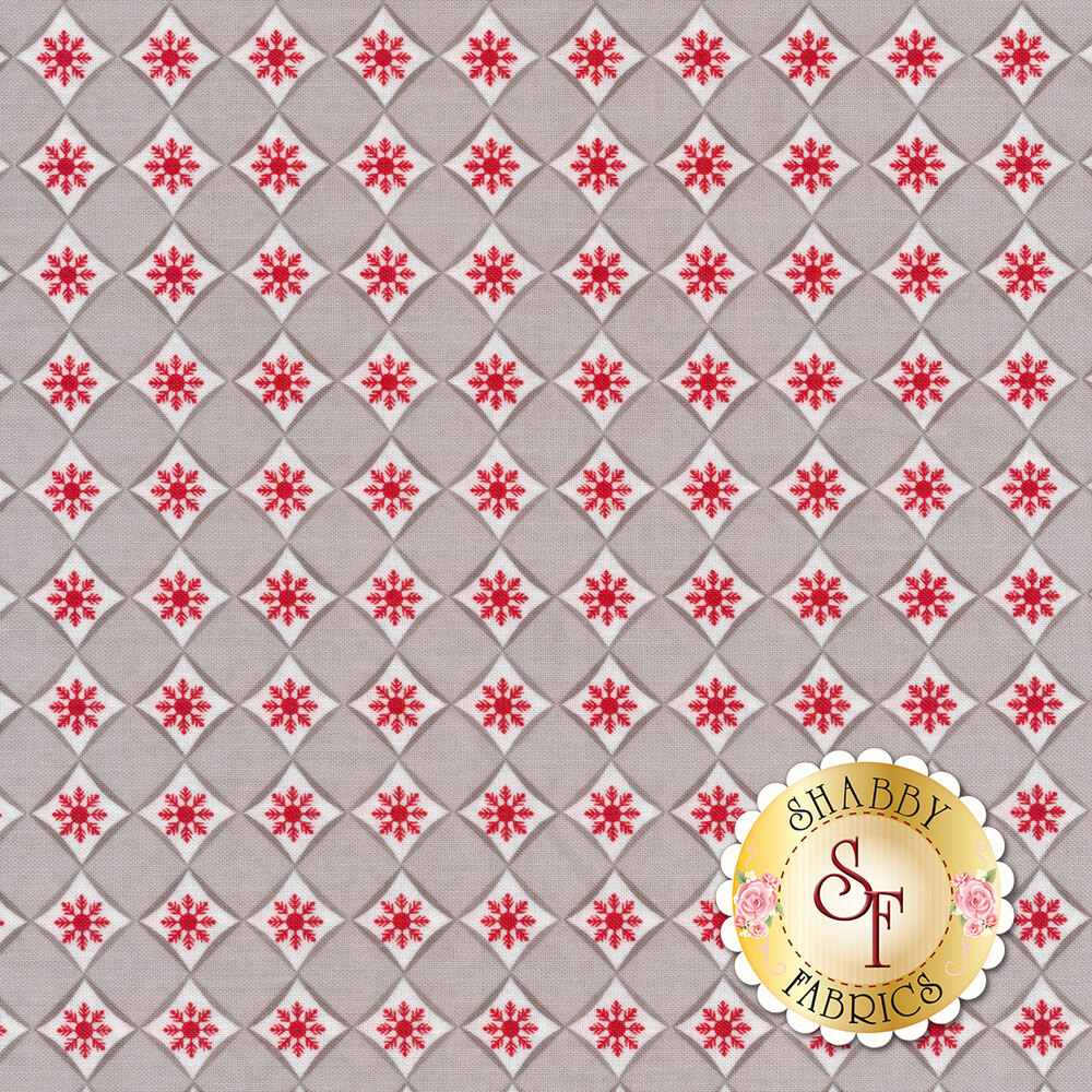 Diamond pattern with small red snowflakes in each diamond | Shabby Fabrics