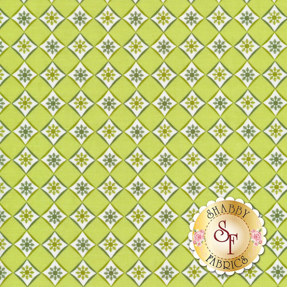 Diamond pattern with small green snowflakes in each diamond | Shabby Fabrics