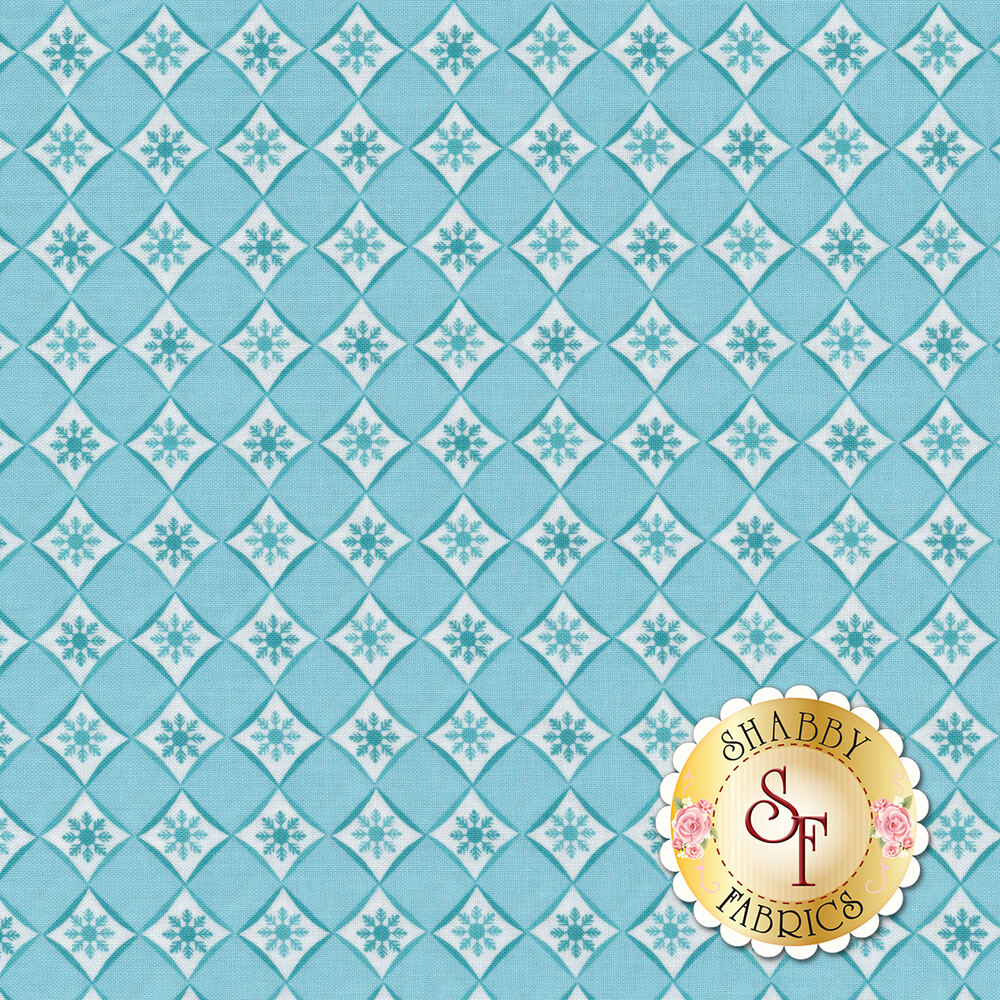Diamond pattern with small turquoise snowflakes in each diamond | Shabby Fabrics