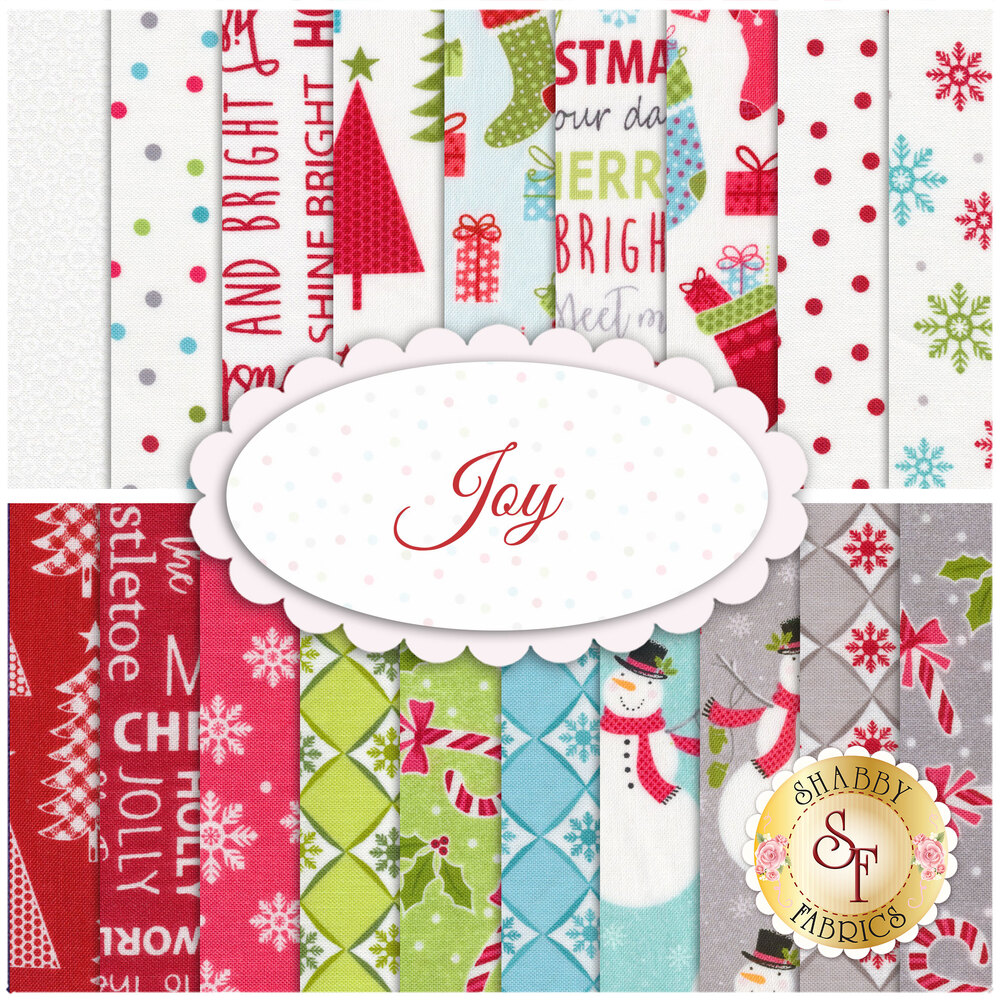 A collage of fabrics included in the Joy FQ Set | Shabby Fabrics
