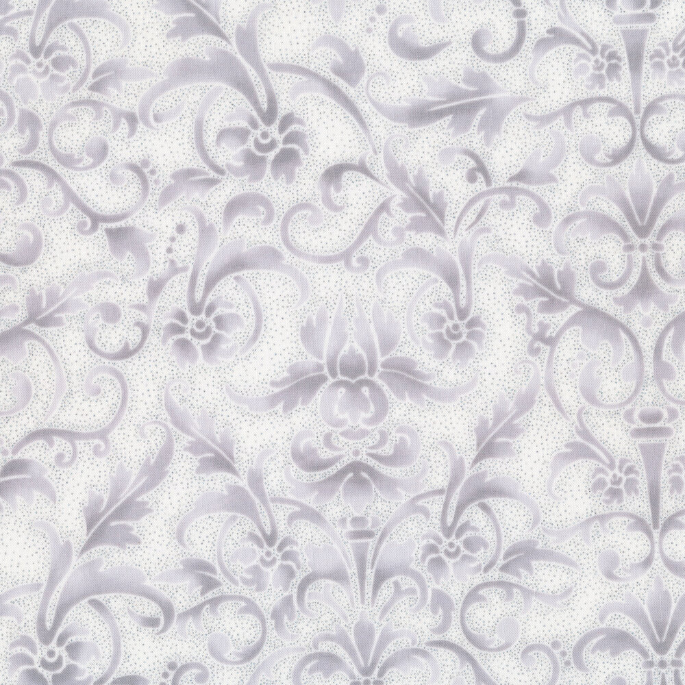 tonal white damask with silver accents   Shabby Fabrics
