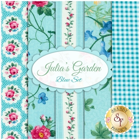 Julia's Garden  5 FQ Set - Blue Set by Deborah Edwards for Northcott Fabrics