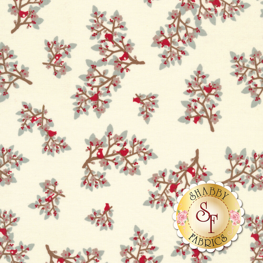 Tossed holly and berries with small cardinals on a white background | Shabby Fabrics