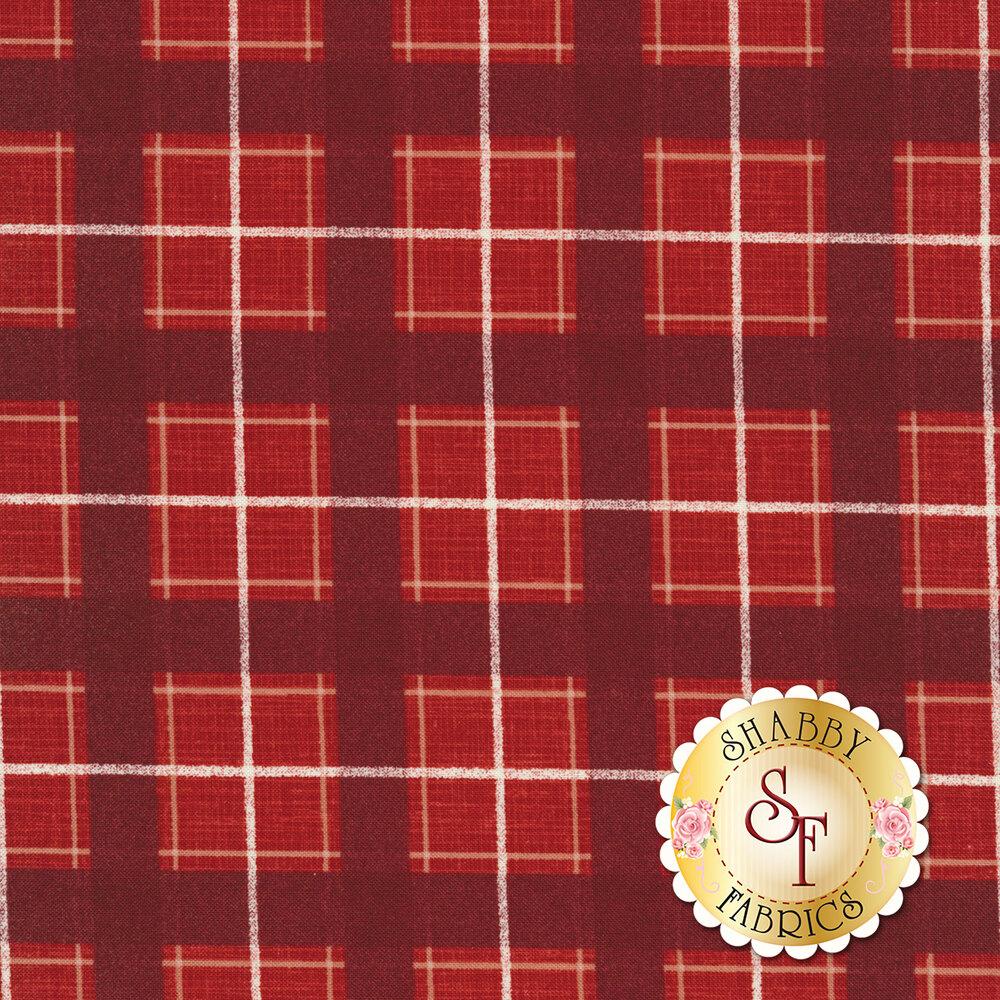 Red and dark red plaid fabric | Shabby Fabrics