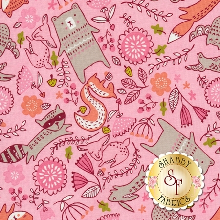Just Another Walk In The Woods 20523-12 Pink by Stacy Iest Hsu for Moda Fabrics