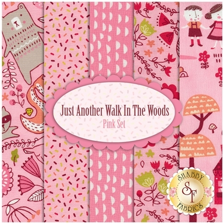 Just Another Walk In The Woods  5 FQ Set - Pink Set by Stacy Iest Hsu for Moda Fabrics
