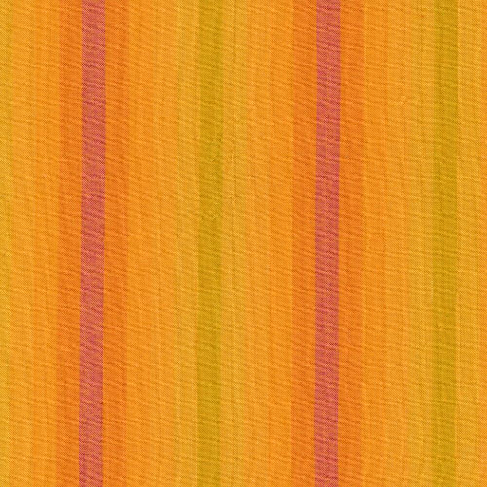 Modern yellow and orange striped fabric | Shabby Fabrics