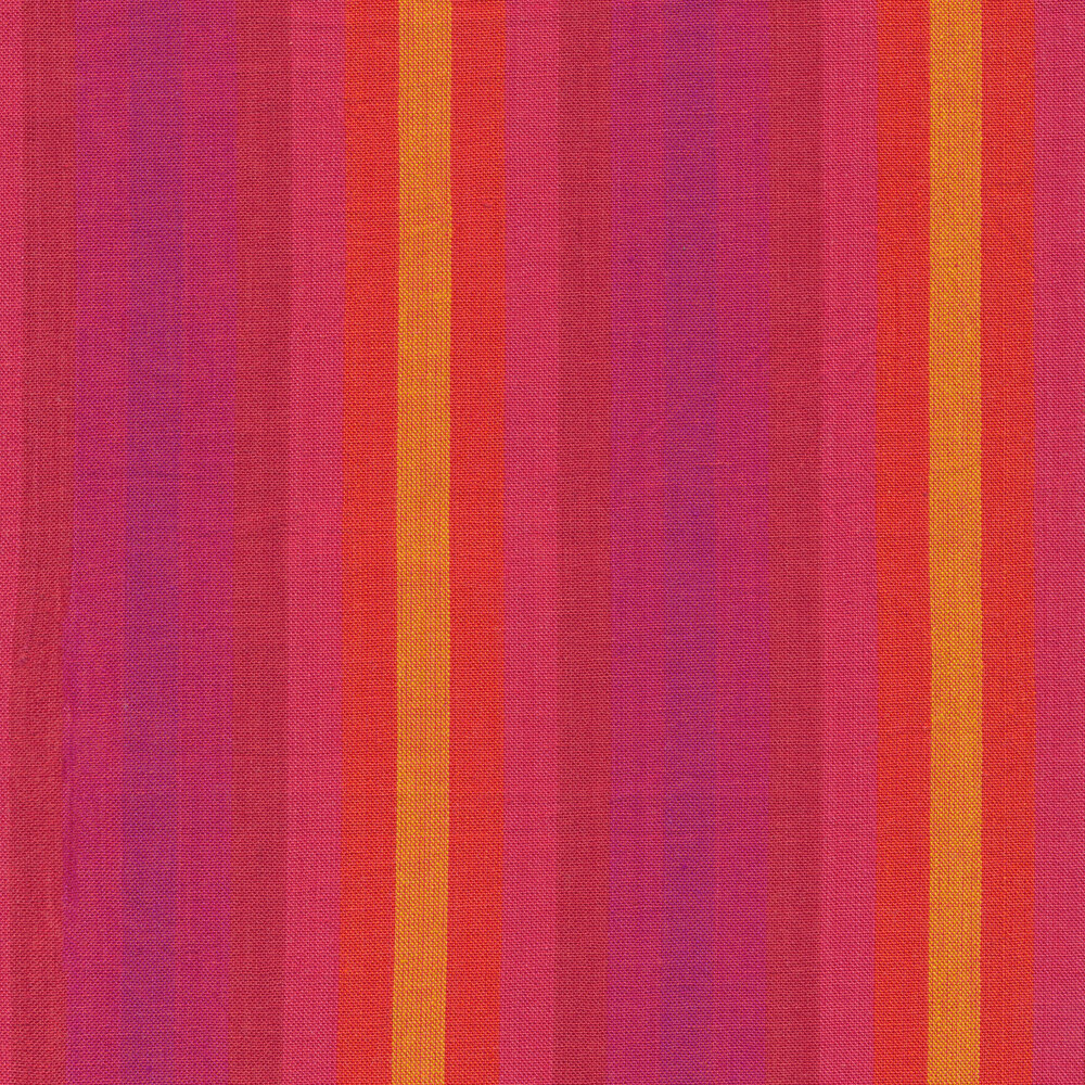 Modern red, pink and yellow striped fabric | Shabby Fabrics