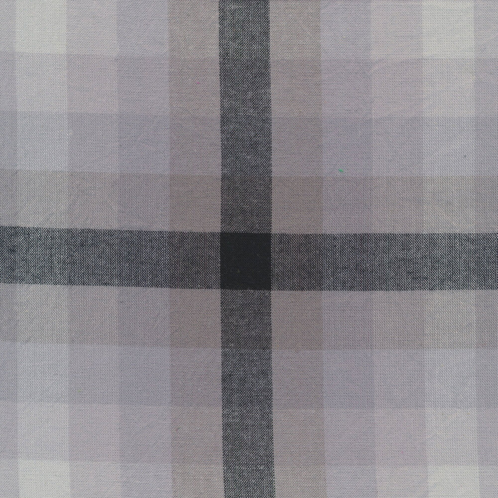 Modern white and grey plaid fabric | Shabby Fabrics