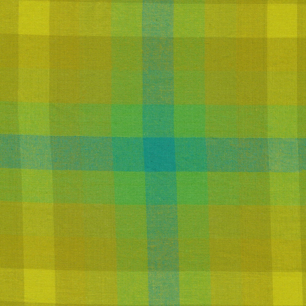 Modern green and yellow plaid fabric | Shabby Fabrics