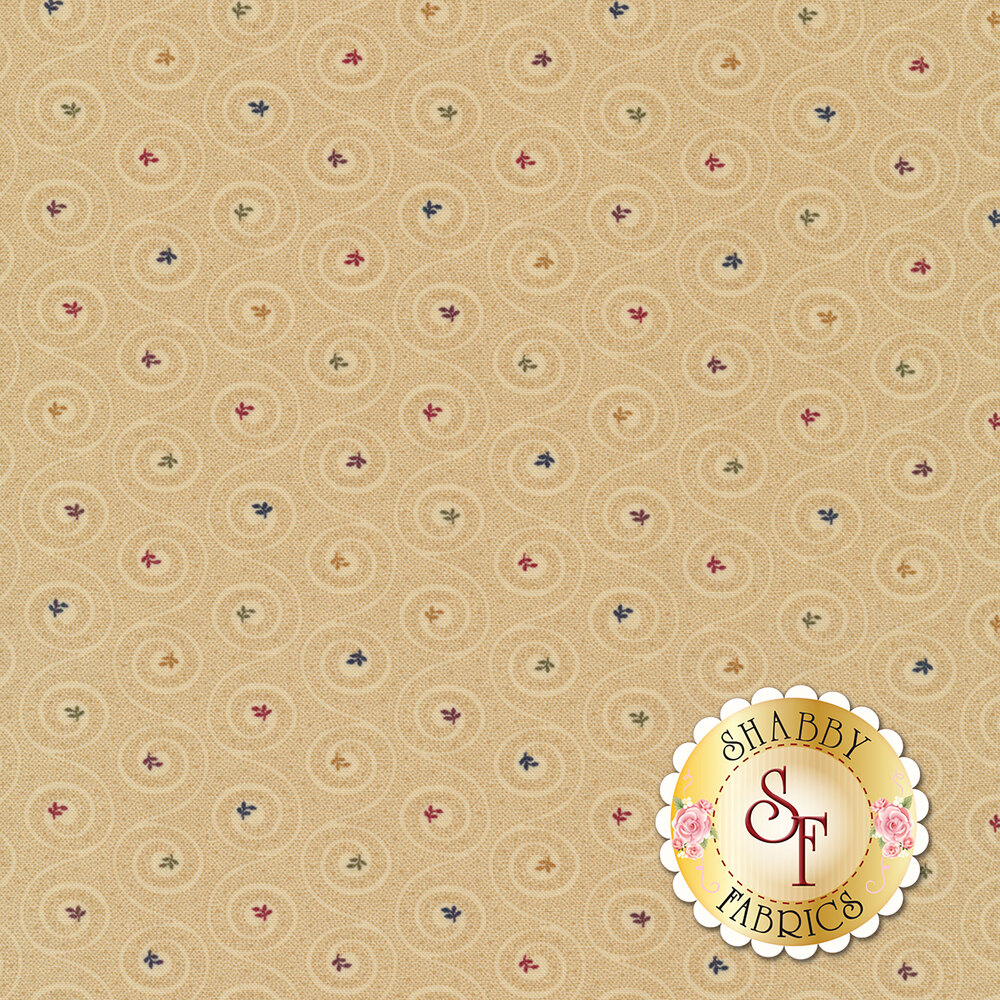 Tonal swirls with multi colored flowers at the center of each swirl | Shabby Fabrics