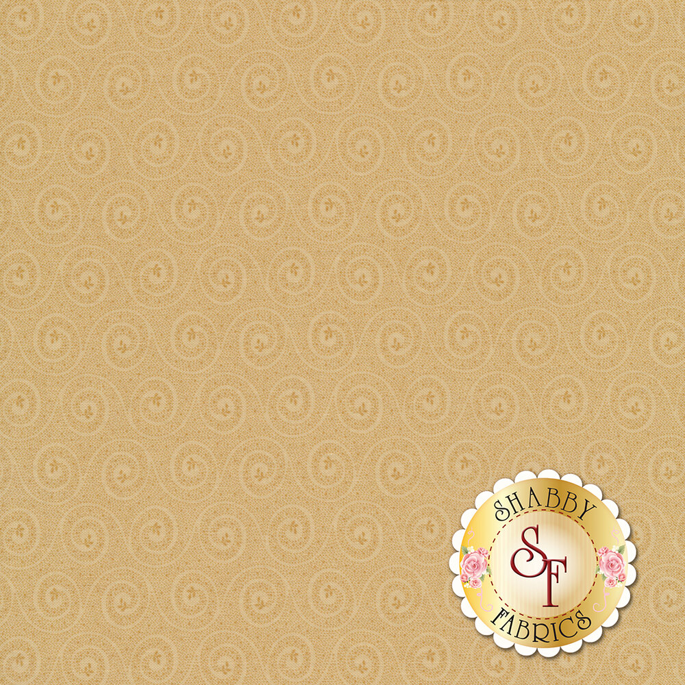 Tonal light tan swirls on a tan background with flowers at the center of each swirl | Shabby Fabrics