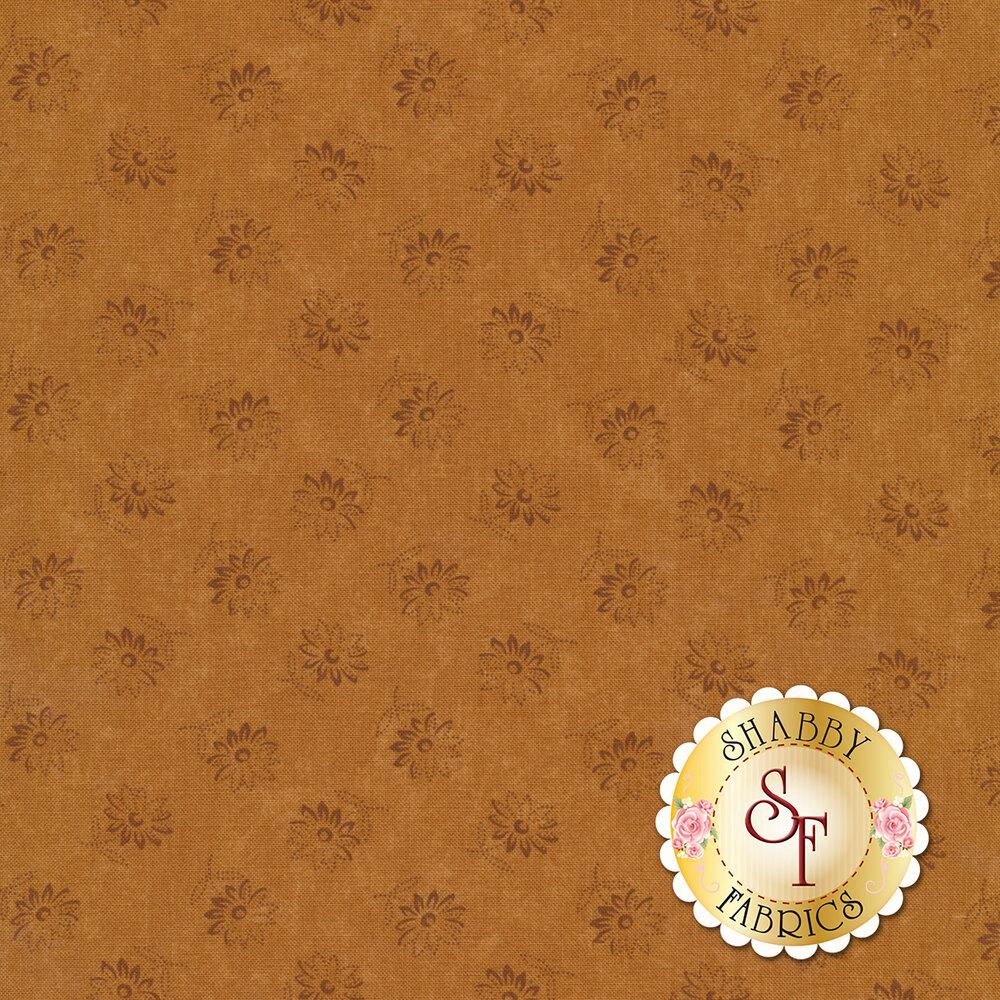 Tossed tonal flowers on an orange background | Shabby Fabrics