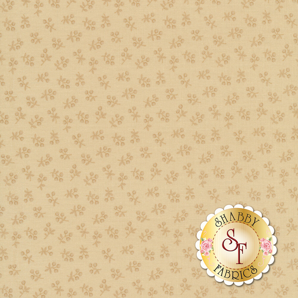 Tossed tonal flowers on a tan background | Shabby Fabrics