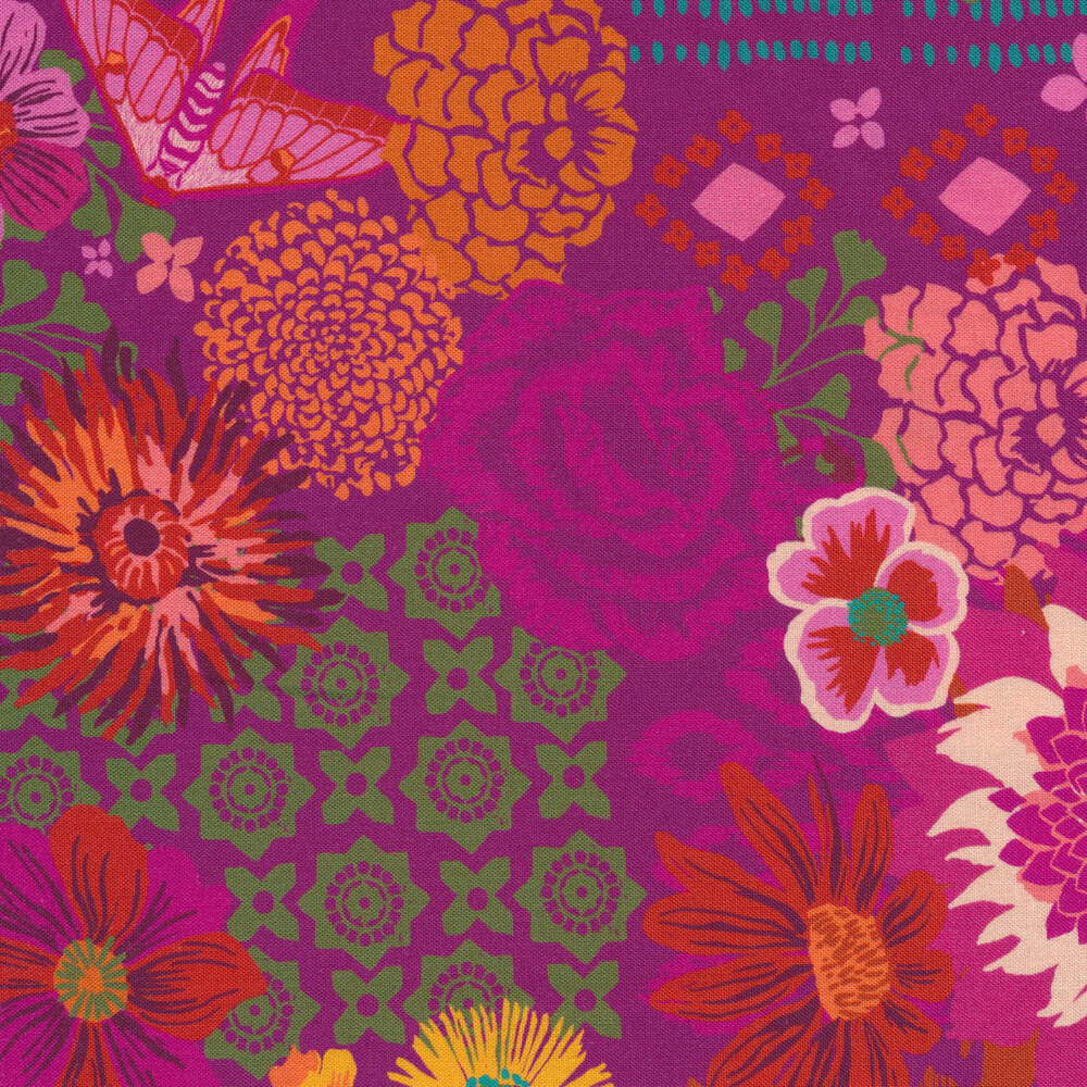 Flowers and varying patterns on berry | Shabby Fabrics
