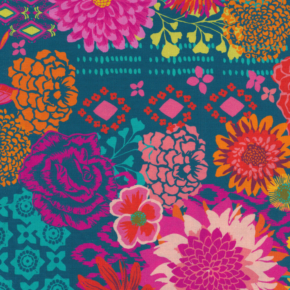 Flowers and varying patterns on teal | Shabby Fabrics