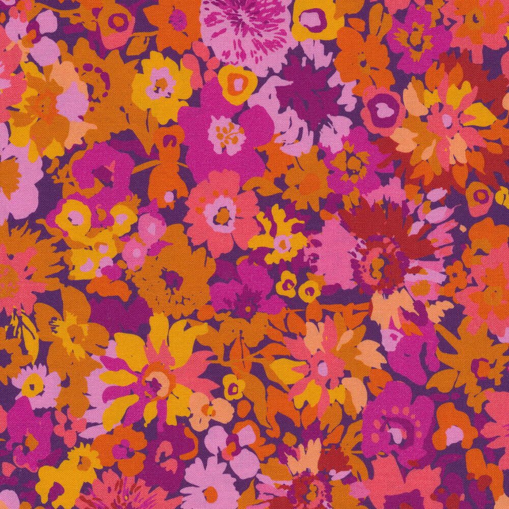 Varying shades of pinks and purple flowers on berry | Shabby Fabrics