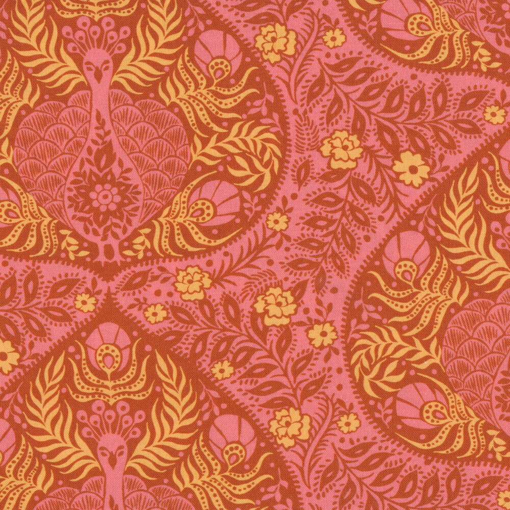 Yellow and pink peacocks and florals on pink | Shabby Fabrics