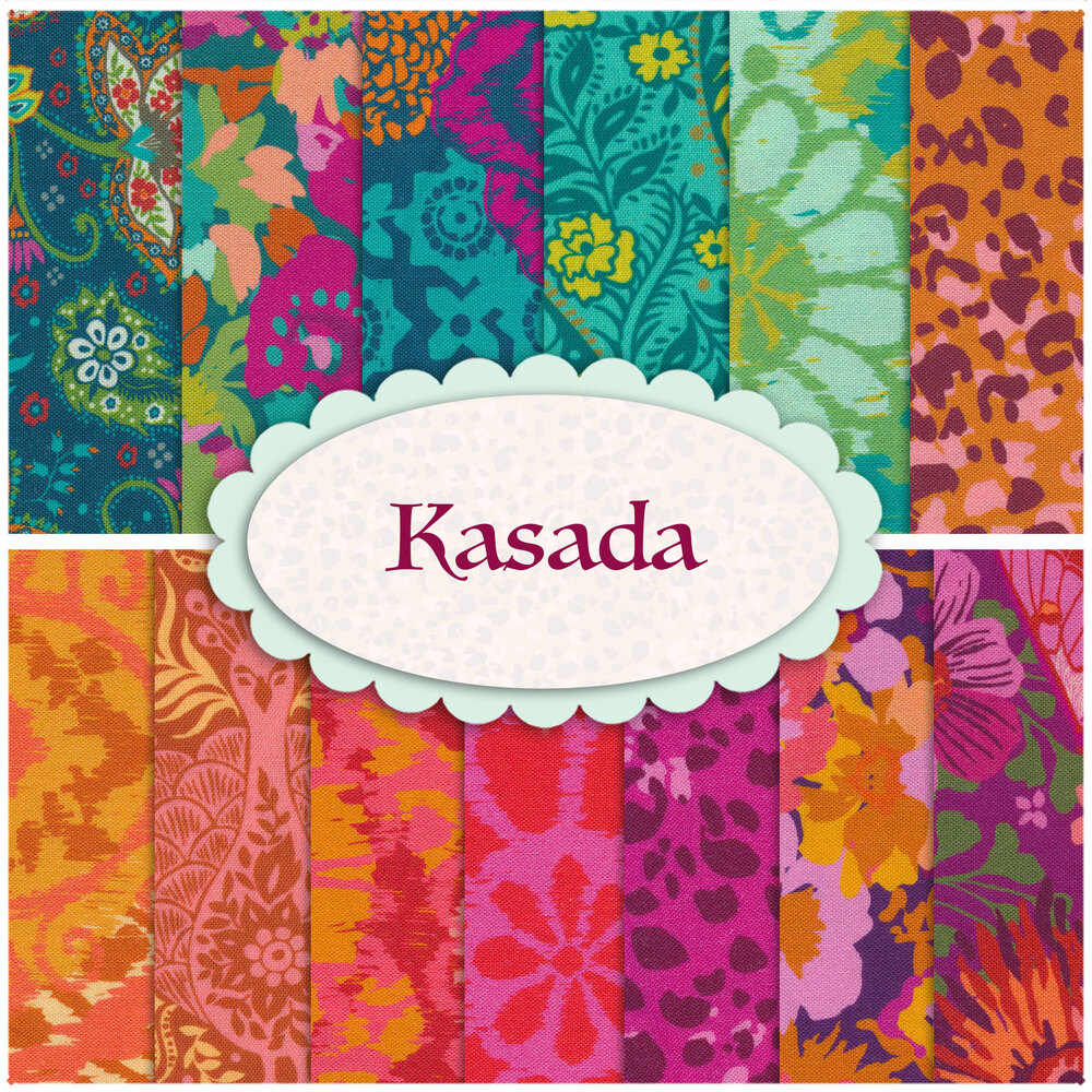 Collage of fabrics included in the Kasada FQ Set