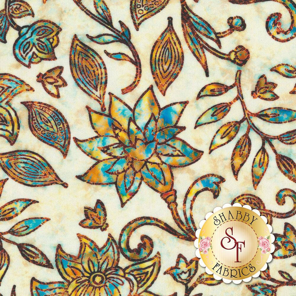 Blue/gold floral design on mottled cream | Shabby Fabrics