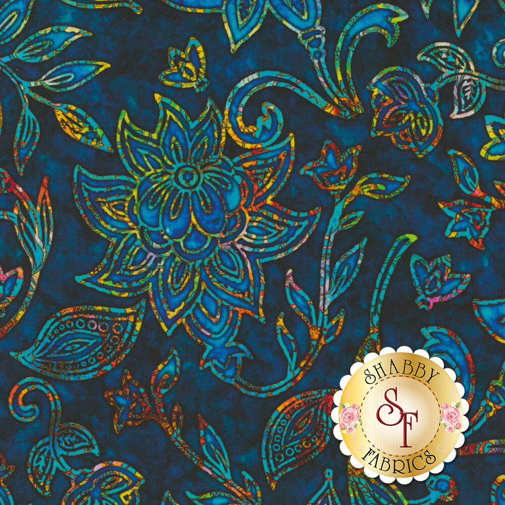 Multicolored floral design on mottled blue | Shabby Fabrics