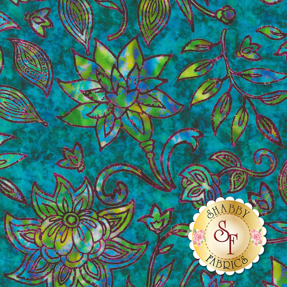 Multicolored floral design on mottled teal | Shabby Fabrics