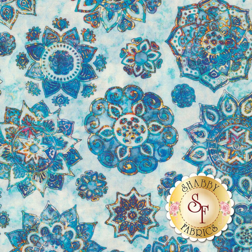 Blue floral medallion design on mottled light blue | Shabby Fabrics