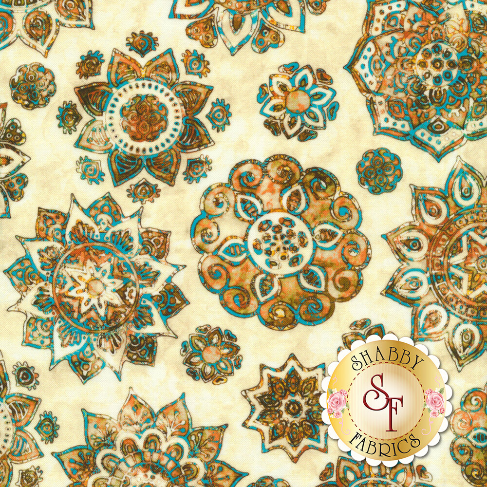 Gold floral medallion design with blue on mottled cream | Shabby Fabrics