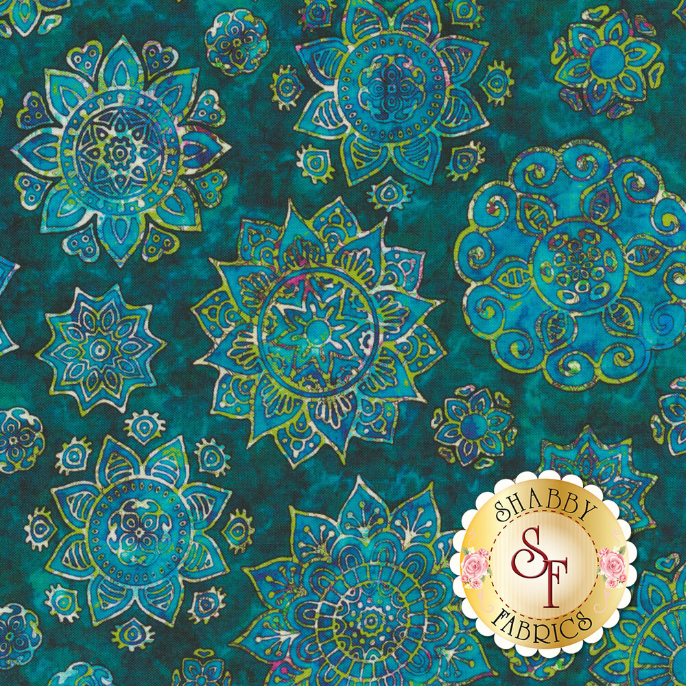 Turquoise floral medallion design with green on mottled teal | Shabby Fabrics