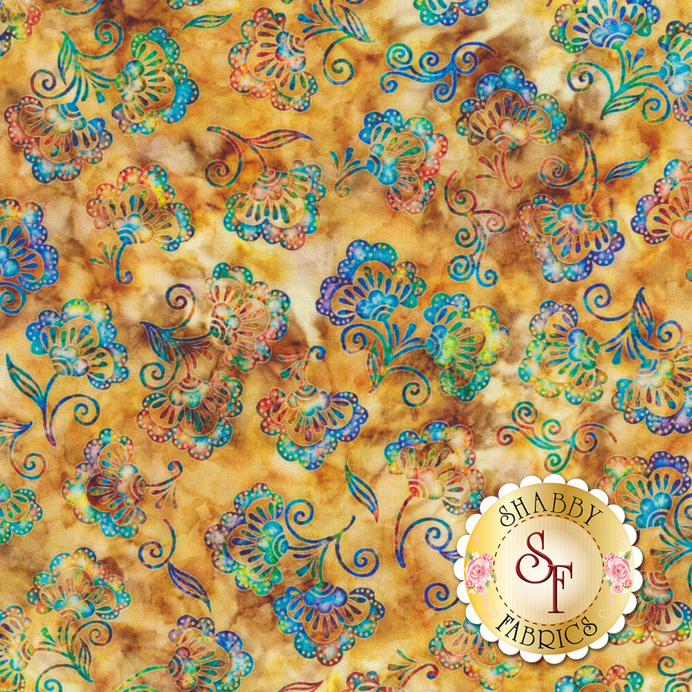 Rainbow colored flowers all over mottled brown | Shabby Fabrics