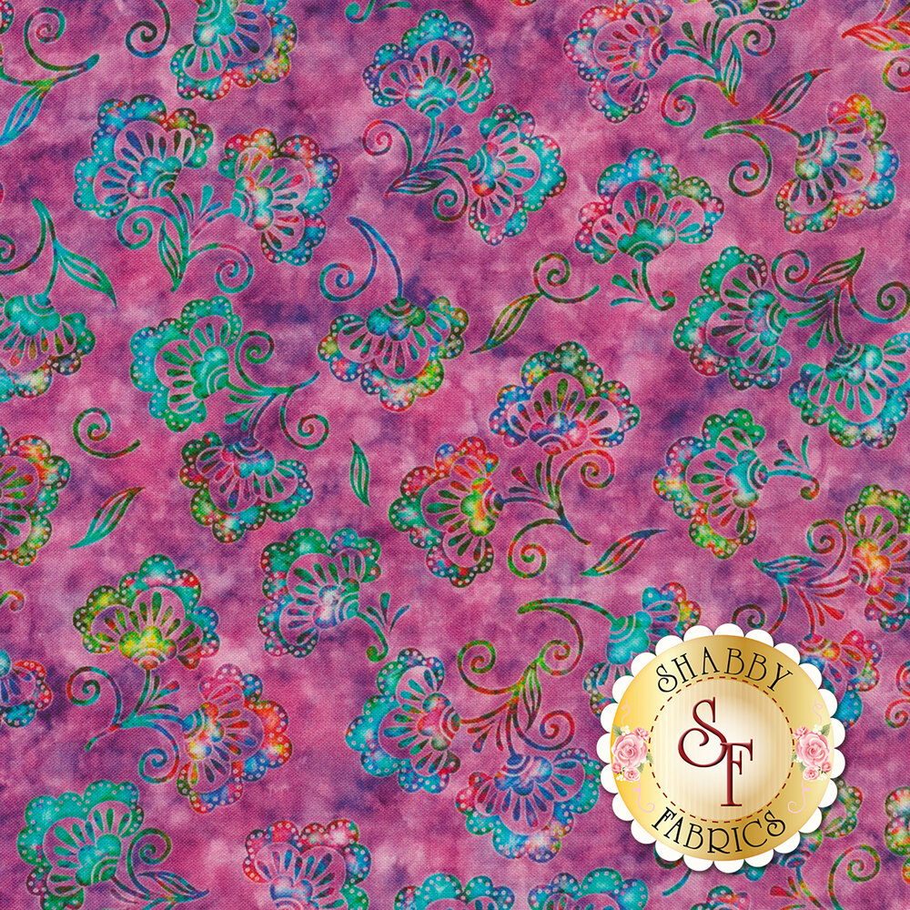 Rainbow colored flowers all over mottled purple | Shabby Fabrics