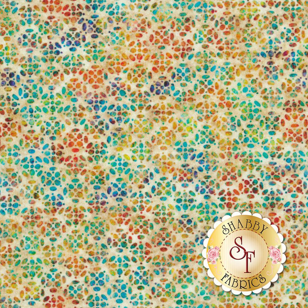 Multicolored geometric speckle design all over mottled cream | Shabby Fabrics